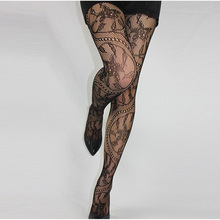 Newest Women Sexy Lingerie Sexy Stripe Elastic Stockings Charming Black Fishnet Stocking Thigh Sheer Tights Embroidery Pantyhose