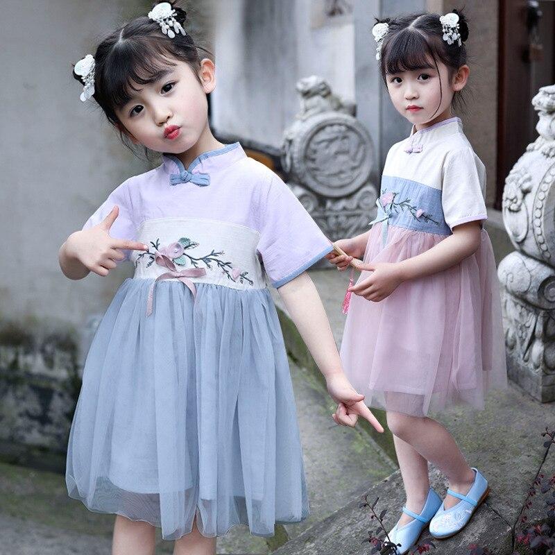 New Fairy Dress Girls Chinese Dance Costumes Traditional Ancient Chinese Hanfu Dress Embroidery Han Tang Hanfu Children SL1015