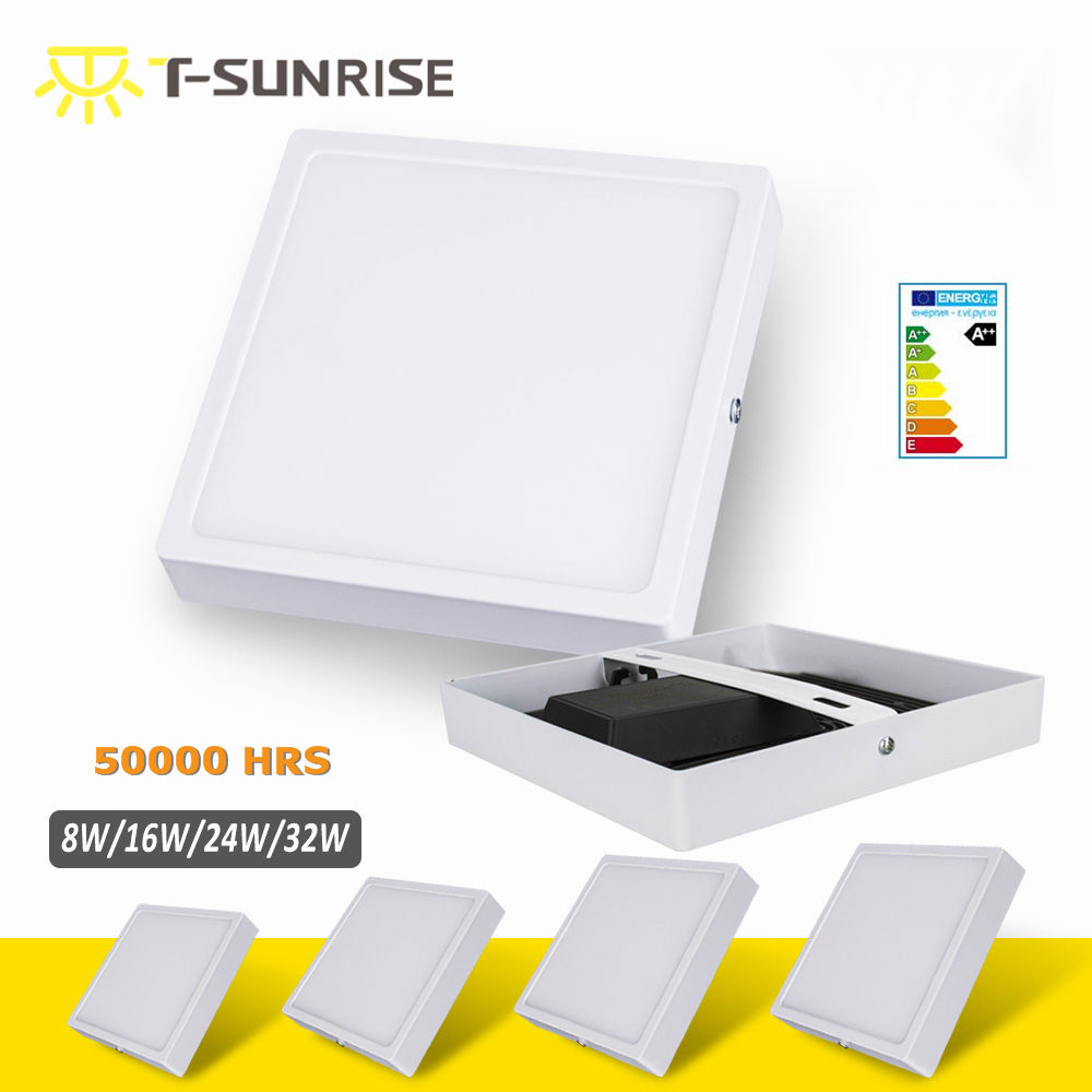 T-SUN LED Surface Downlight Panel 8W 16W 24W 32W Square LED Tak Inbyggnadslampa med Svart Värme Radiator SMD4014 AC85V-265V
