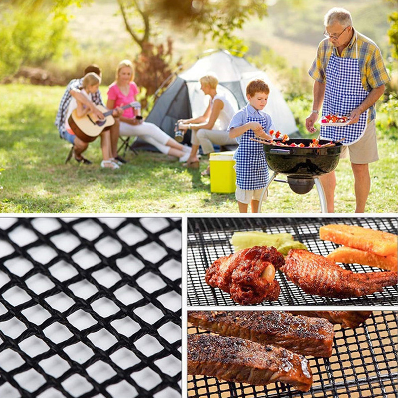 BBQ Grill Mat Reusable Kitchen Cooking Mesh Grill Mat Non-stick Teflon Grilling Mesh Mat Barbecue Liner Outdoor BBQ Accessories (15)