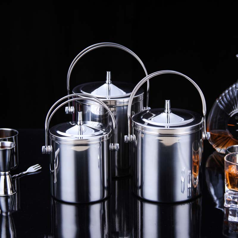 Stainless Steel Double Walled Ice Bucket Barware Serveware for Parties Events Gatherings With Tong