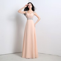 In Stock Cheap Floor Length Long Wedding Party Bridesmaid Dress Crystal Beading Chiffon Bridesmaid Dresses