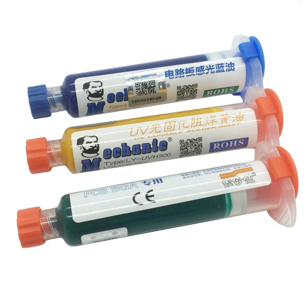Livraison gratuite 3 pcs 3 couleur UV Curable Masque de Soudure 10CC pour PCB circuit protéger À Souder Coller Flux huile