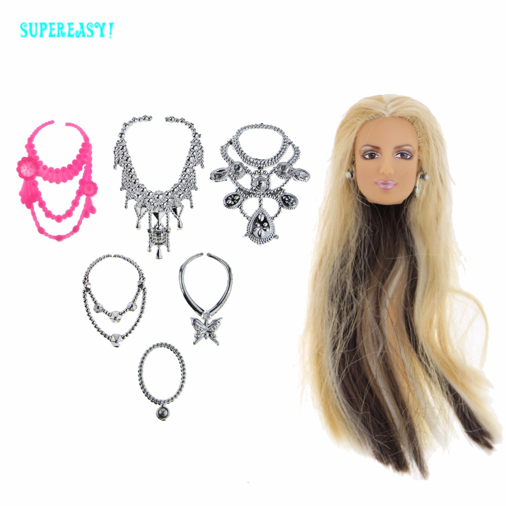 7 Pcs = 1x High Quality Doll Head Mixed Color Straight Hair With Metallic Earrings + 6x Plastic Chain Necklaces Accessories Gift high quality doll head brown curly hair long eyelashes with fashion earrings diy gift accessories for 1 6 12 doll kids toy gift