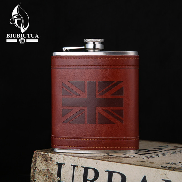 BIUBIUTUA 7oz Pocket Hip Flask The Union Flag Printed Leather Covered Stainless Steel Flask For Alcohol Christmas Gifts