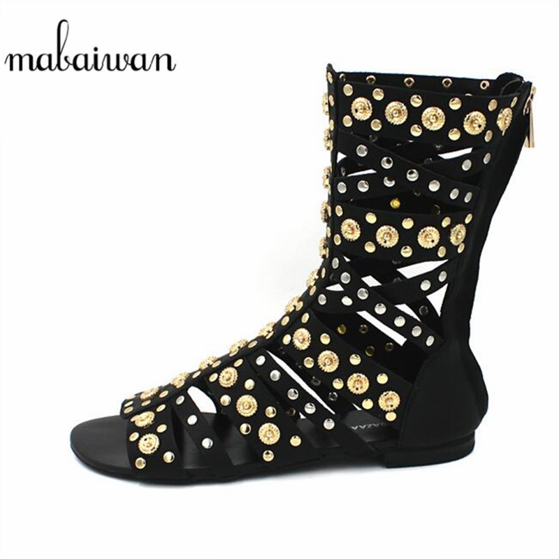 Mabaiwan Summer Ankle Boots Women Genuine Leather Gladiator Sandals Hollow Out Dress Shoes Woman New Rivets Open Toe Zip FlatsMabaiwan Summer Ankle Boots Women Genuine Leather Gladiator Sandals Hollow Out Dress Shoes Woman New Rivets Open Toe Zip Flats