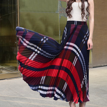 2017 New Fashion Women Long Pleated Skirts For Casual Summer High Waist Boho Maxi Vintage Ladies Ankle Length Office Womens