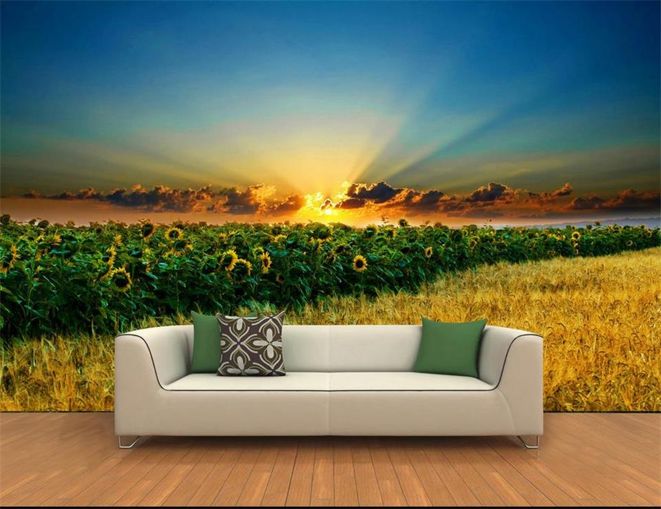 3d Wallpaper Custom Size Photo Wallpaper Sea Sunrise Beauty Painting Livingroom Sofa Tv Background Mural Wall Paper For Walls 3d Painting Supplies & Wall Treatments