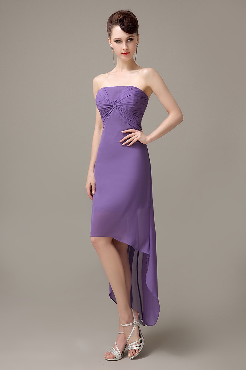 Compare prices on customized bridesmaid dresses online shopping purple strapless hi lo chiffon zipper up simple bridesmaid dress cheap bridesmaid dress customized bridesmaid ombrellifo Choice Image