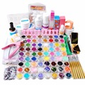 UV Gel Polish Set Primer Top Coat Nail Glitter Strip Brush Cleanser Plus For Nail Art Design Cuticle Oil Nail Buffer File Tips
