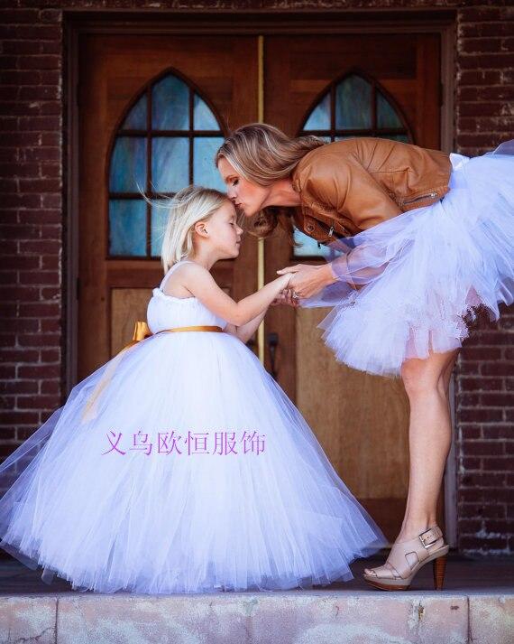 Maman filles robe pour la fête de mariage soirée mère fille robes bébé filles princesse robe famille correspondant tenues jupe Tutu - 5