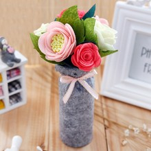 European Style Artificial Flowers DIY Pack Handmade Felt Flower Bouquets Home Decor For Wedding Scene Layout Decoration 5X22CM(China)