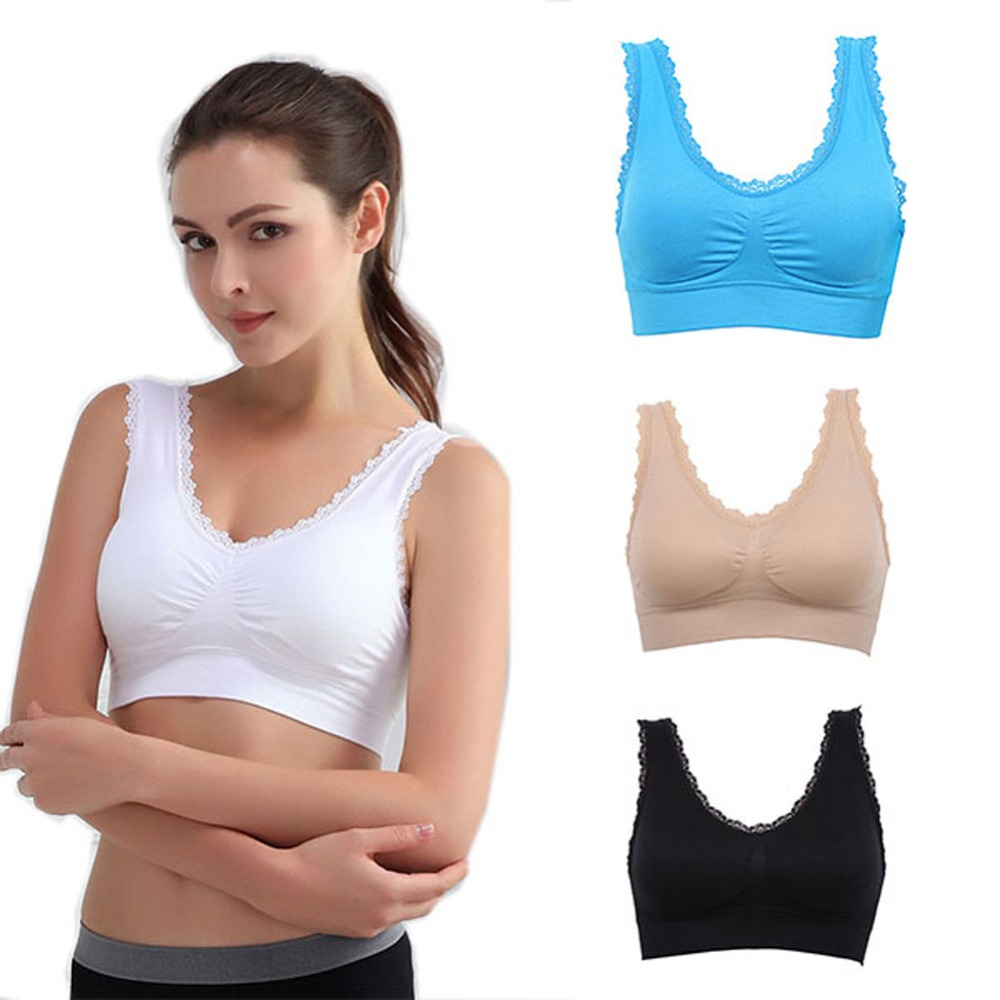 2018 High Quality Women Padded Wire Free Yoga Gym Bra Comfort Seamless Sport Tank Top Lace trim Size S XXXL ladies sport top in Sports Bras from Sports Entertainment