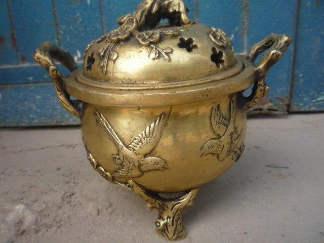 Редкий Старый династии Мин меди курильница/ладан плита, с резьбой и марки, лапчатка, Бесплатная доставка