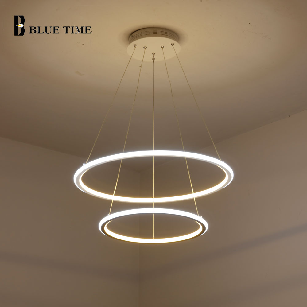 Us 39 0 40 offnew modern 3 circle rings led pendant lights for living room dining room led lustre pendant lamp hanging ceiling luminaire in pendant