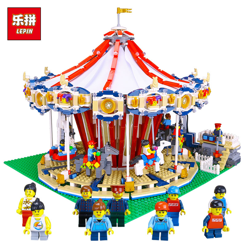 Lepin 15013A City Street Carousel Building Kits Assembling Block Toy Compatible With lego 10196 Educational Merry Go Round Gifts lepin 15013 city street carousel model building kits assembling blocks toy legoing 10196 educational merry go round gifts