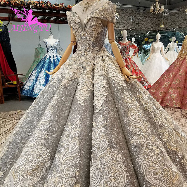 AIJINGYU Lace Wedding Dresses Gowns China Frocks White Western Pearl Gown 2021 2020 Long Bridal Robe