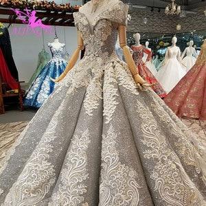 Image 1 - Aijingyu rendas vestidos de casamento vestidos china vestidos branco ocidental pérola vestido 2021 2020 longo nupcial robe