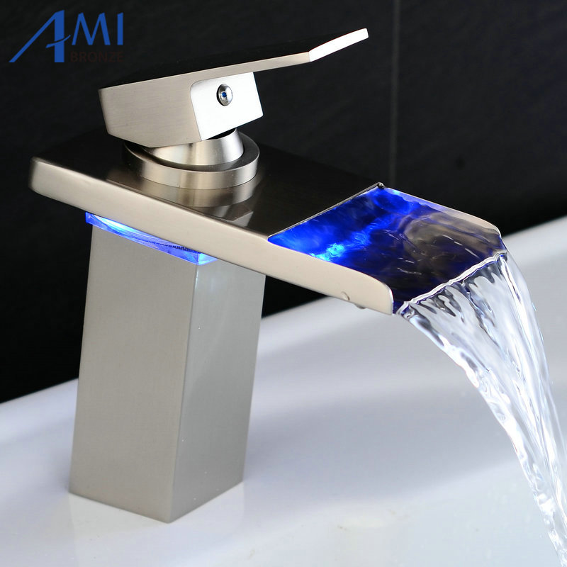 Water Powered LED Faucet Bathroom Basin Faucet Nickel Brushed Brass Mixer Tap Waterfall Faucets Hot Cold Crane Basin Tap infos bathroom led waterfall water tap