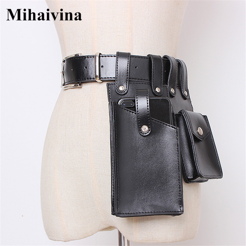 Mihaivina Leather Waist Bag Women Fanny Pack Black Waist Pack Purse Case Luxury Belt Bag Women Pouch Pockets Fit Iphone 8 Plus