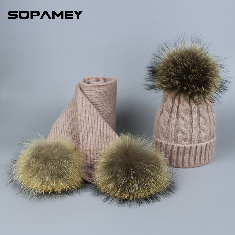 Winter Hats for Children Raccoon Fur Hat Scarf Set Girls and Boys PomPoms Knitted Beanies Hat Cap Brand Scarves for Women man a set of chic rhombus pattern color block knitted hat scarf and gloves for women