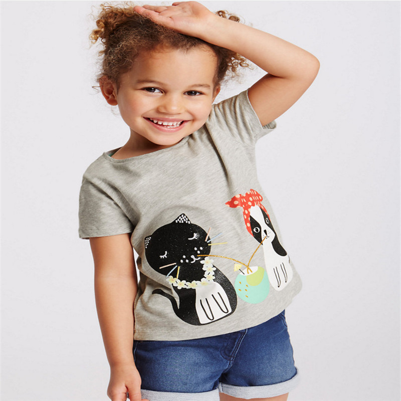 New designed Baby Girls t shirt printed a dog and a cat short sleeve summer Tops Kids Toddler T-shirts jumping meters brand 2017 ...