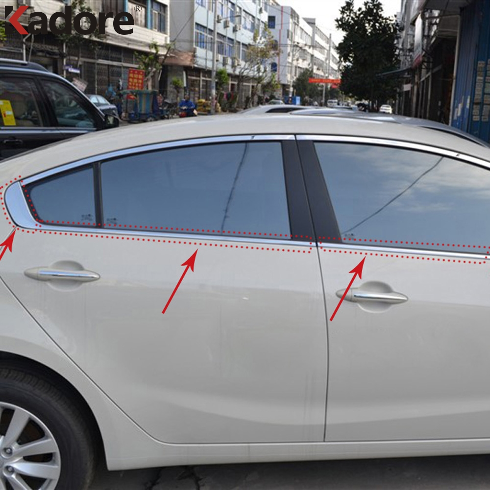 Car Styling For Kia Forte Cerato K3 2013 2014 2015 Stainless Steel Window Glass Decoration Strips Trim Exterior Moulding 8PCS stainless steel full window with center pillar decoration trim car accessories for hyundai ix35 2013 2014 2015 24