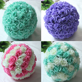 "8""(20cm)Tiffany Blue Wedding Decorations Artificial Rose Silk Flower Ball Centerpieces Mint Decorative Hanging Flower Ball Wine"