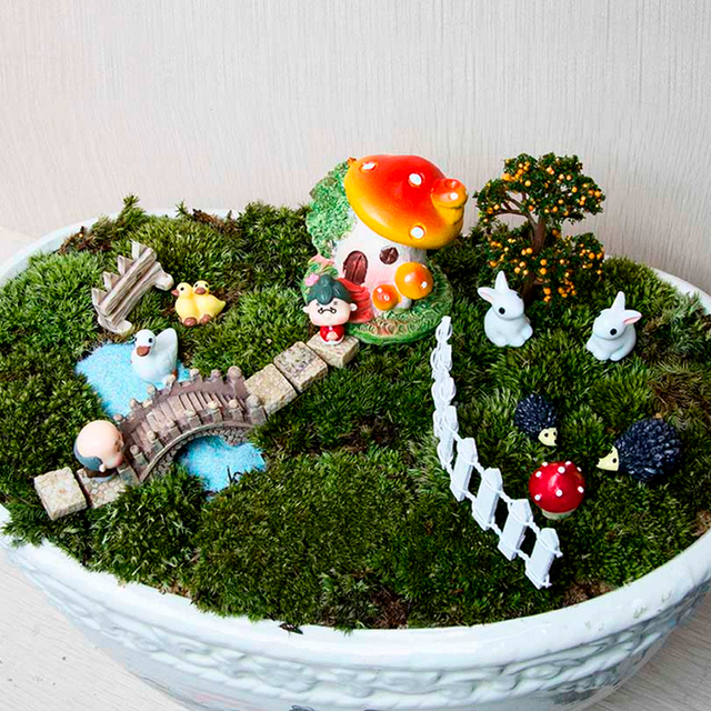 Miniature Resin Fairy Garden Terrarium Home Decoration Ornament Doll House  Figurine Statue Home Decor Ornament JK0910