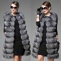2016 New Winter Female Plush Sleeveless Fraux Fox Fur Vest Flocking High imitation fur coat collar long Patchwork Natural Color