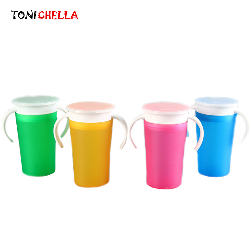 360 Degrees Can Be Rotated Baby Learning Drinking Cup With Double Handle Flip lid Leakproof Infants Water Cups Bottle T0365
