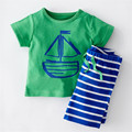 New style Korean version baby boy clothing set cartoon printed short-sleeve and Striped pants 2 pieces colorful