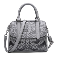 Luxury Women Boston Bags Vintage PU Leather Tote Bag Female Embossed Designer Handbags Crossbody Bags For