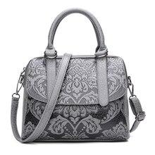 Luxus Frauen Boston Taschen Vintage PU Leder Einkaufstasche Weibliche geprägte Designer Handtaschen Crossbody Taschen Für Frauen 2017 Sac Ein wichtigsten