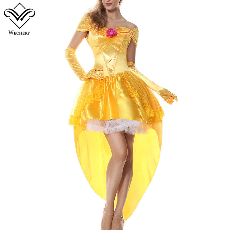 Wechery Fancy Dress Princess Cosplay Clothing Yellow Slimming High Low Dresses Off Shoulder Costume Set with Gloves