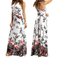 Estilo europeo caliente del cuello del halter backless flor impreso beach dress maxi largo night party dress for women