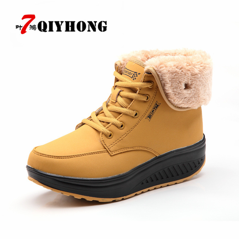 QIYHONG 2018 New Winter Women Snow Boots Platform Ankle Boots Women High Warm Fur Plush Motorcycle Boots 35-40 fedonas top quality winter ankle boots women platform high heels genuine leather shoes woman warm plush snow motorcycle boots