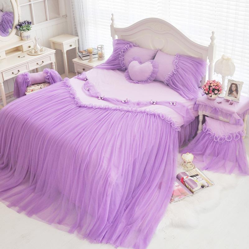 prpura falda de la cama m cama de cuatro piezas de algodn estilo europeo princesa