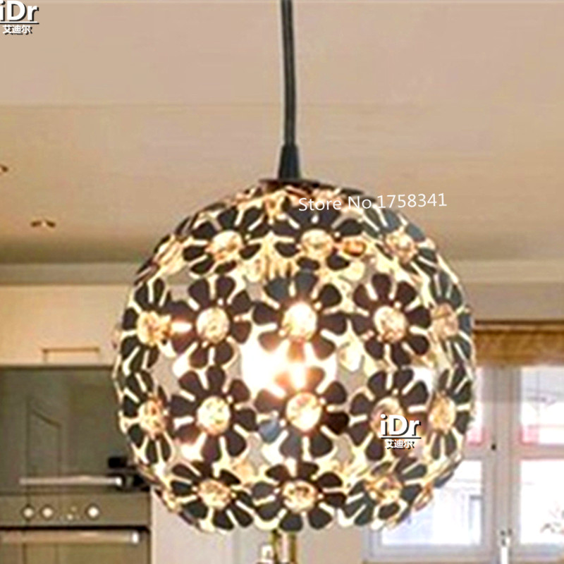 Beautiful Silver Flower Crystal Pendant Lights Fixtures