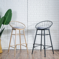 New coming 45cm/65cm/75cm American bar stool bar chair creative coffee chair gold high stoolgolden modern leisure metal chair