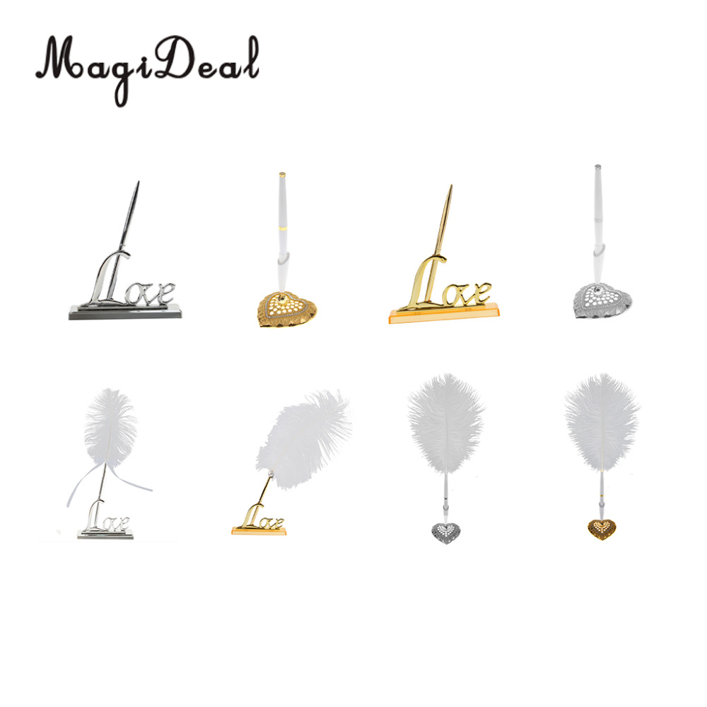 MagiDeal Wedding Party Guest Book Signing Pen Love Heart Feather Quill Sign Holder Table Decor
