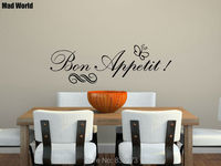Free Shipping Bon Appetit Kitchen Wall Art Stickers Decal DIY Home Decoration Wall Mural Removable Room