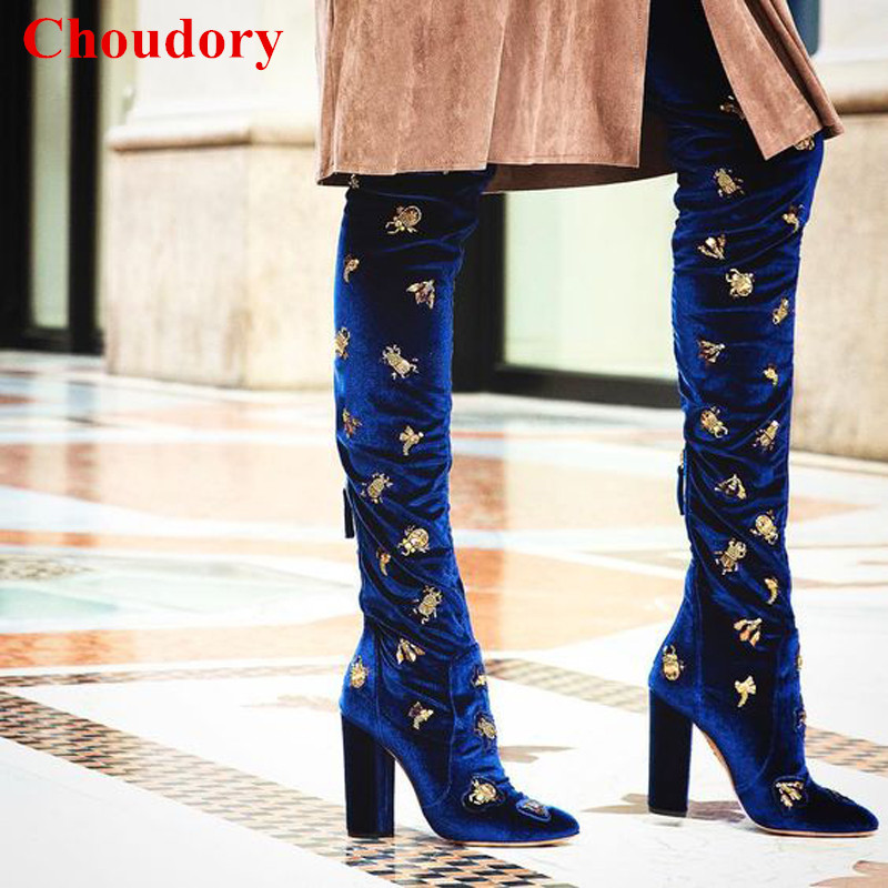 Royal Blue Imperial Velvet Over-the-Knee Booties Shoes Women Big Size 35-43 Animal Embroidered Crystal Thigh High Boots Shoes