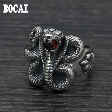S925 sterling silver jewelry fashion retro Thai silver king cobra mosaic garnet rings конверт детский voksi voksi конверт зимний urban melange black