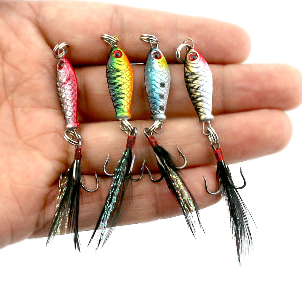 4pcs Mini Metal Fishing Jig Lure 3d Eyes Artificial Bait With Feather Hook Crankbait Lead Jigs Fishing Lures 2.5cm 6.5g LB003 цена