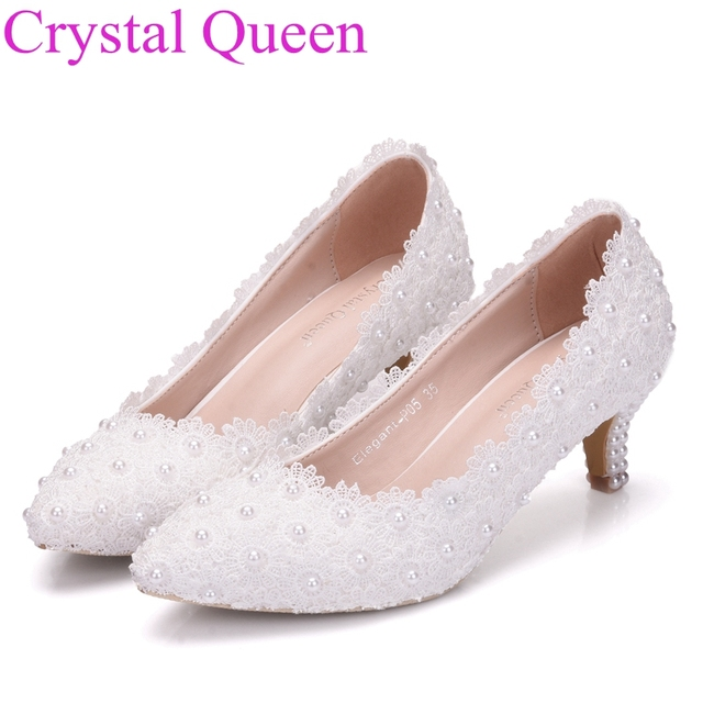 Small Heel White Lace Wedding Shoes 5cm High Heels Pink Sweet Pumps