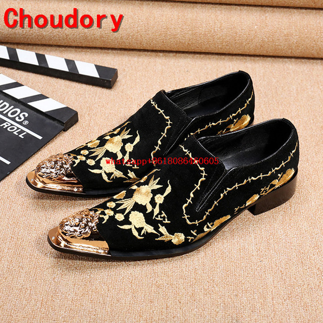 5bec9d101f Sapatas dos homens marca de luxo de ouro chinelos de veludo bordado  vermelho preto de couro