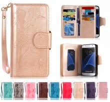 Тисненая Кожа PU Чехол Для Samsung Galaxy S4 S5 S6 J3 J5 J7 S7 край A3 A5 A7 2016 Стенд Бумажник 9 Держатель Карты с зеркалом