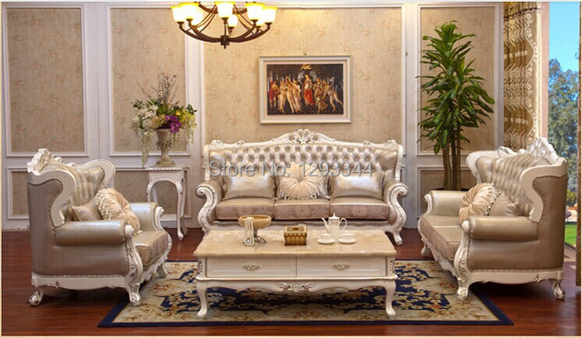 Hinese Manufacturing High End European Leather Sofa Combination Living Room  Sofa Classical French Carved Solid