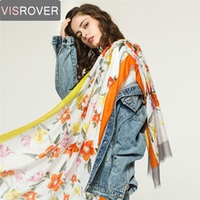 VISROVER Summer Scarf Women With Flower Printing Lurex Shawl Luxury Brand Soft Silk  Handfeeling Head Scarves Wholesales
